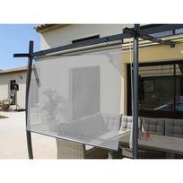 Couleurs Du Monde - Rideau brise-soleil pour tonnelle en toile textilène 170 x 160 cm Gris perle