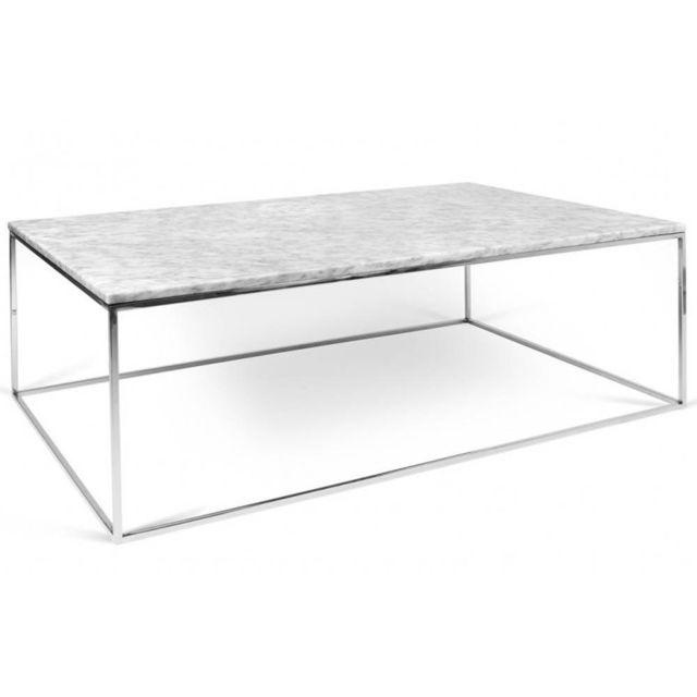 Inside 75 Table basse rectangulaire Gleam 120 plateau en marbre blanc structure chromée