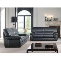 Modern Sofa - Canapé cuir 3+2 noir