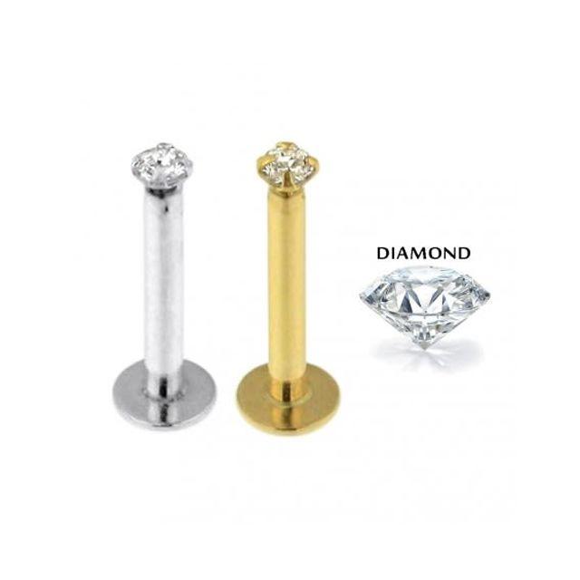 Sans Marque Bijou Pierre Précieuse Piercing Labret Lèvre En Or Jaune Creux 14 carats Avec un Diamants De Laboratoire Serti 1,5mm