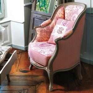 comptoir de famille fauteuil berg re tapiss e 100 coton. Black Bedroom Furniture Sets. Home Design Ideas