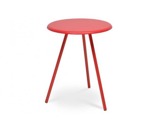Coton Pastel Table basse en bois et métal rouge