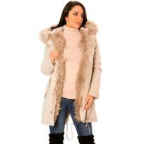 Manteau blanc fourrure femme pas cher