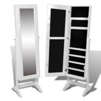 Icaverne - Miroirs ensemble Armoire à Bijoux rangement miroir meuble  chambre blanc
