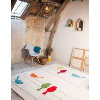Art For Kids - Tapis Tweet les oiseaux multicolores chambre bebe par - Couleur - Multicolor, Taille - 100 x 150 cm