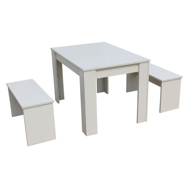 HABITAT ET JARDIN Table avec 2 bancs Tino - 110 x 74 x 70 cm - Blanc
