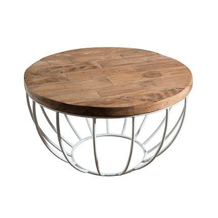 Table basse coque blanche 60x60 cm Appoline - teck
