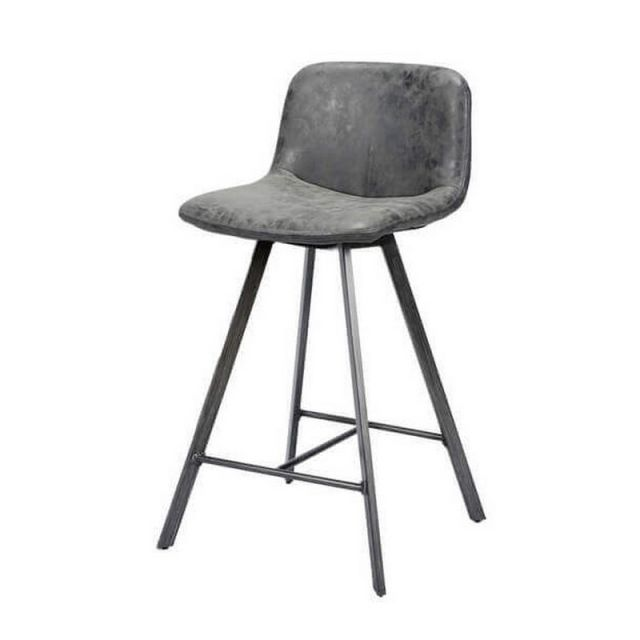 Mathi Design Zenon - Siège de bar gris / noir effet vieilli