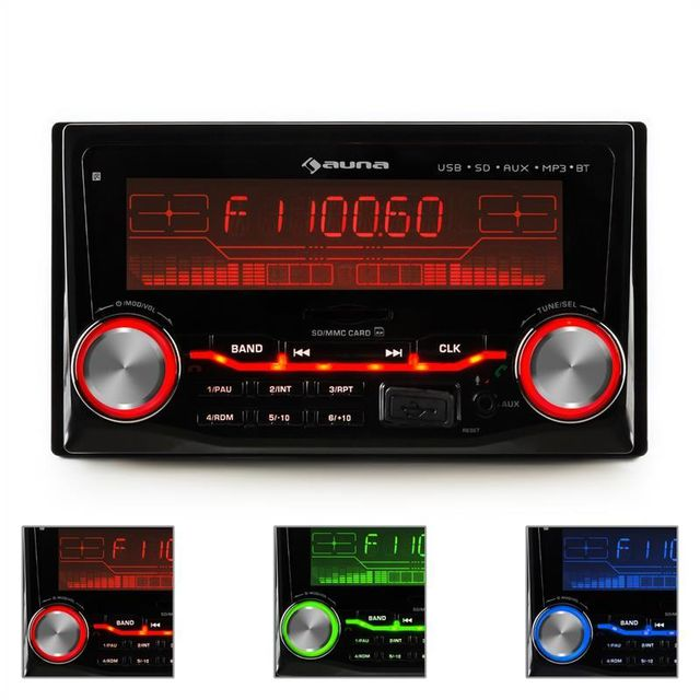 AUNA MD-200 2G BT Autoradio USB SD MP3 Bluetooth 3 couleurs
