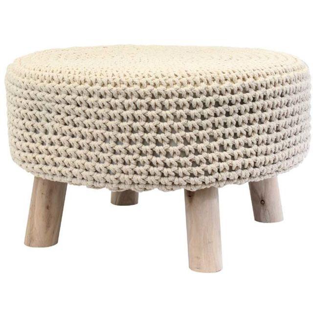 the home deco factory petit pouf rond tress en coton beige pas cher achat vente poufs. Black Bedroom Furniture Sets. Home Design Ideas