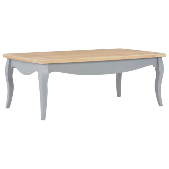 Vidaxl Bois de Pin Massif Table Basse Gris et Marron Table d'Appoint Salon