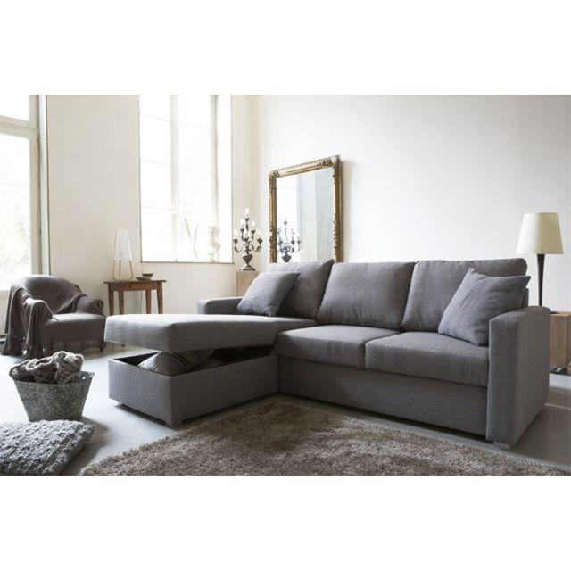 Canape Sofa Divan Jules Canape D Angle Reversible Convertible 4 Places Tissu Gris Contemporain L 220 X P 166 Cm