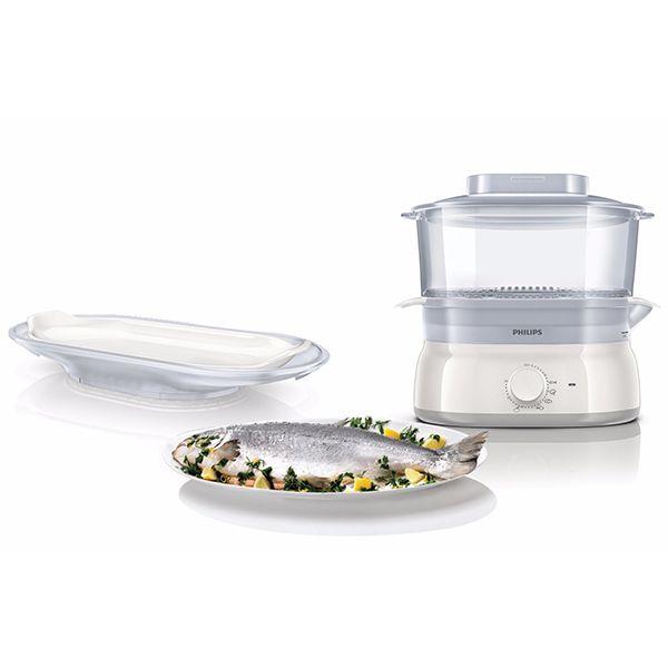 PHILIPS cuiseur vapeur 1 panier 900w + poisonnière - hd9185/00