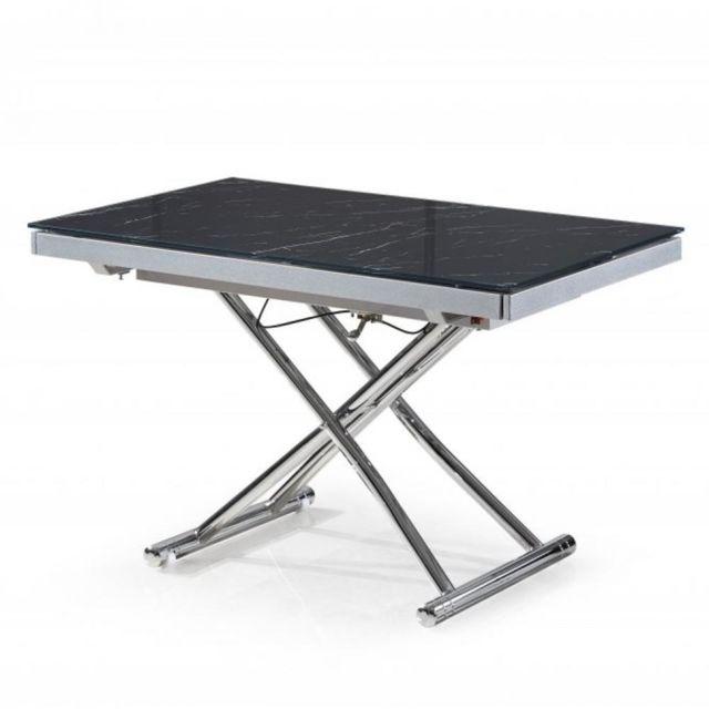 Inside 75 Table basse Jump extensible relevable en verre trempé marbré noir