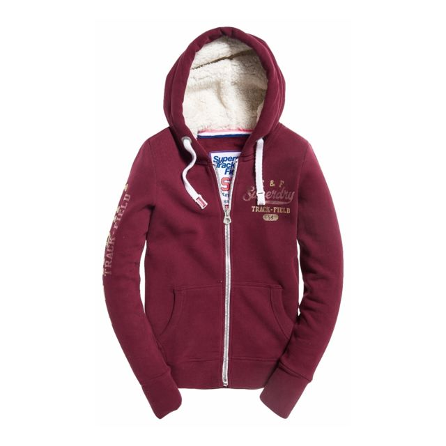 Superdry Sweat Track & Field Borg Track Burgundy Rouge
