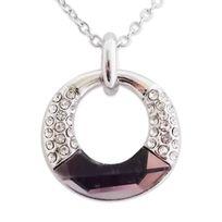 Totalcadeau - Tour de cou anneau paré de strass et fausse pierre mauve bijou fantaisie pas cher pendentif