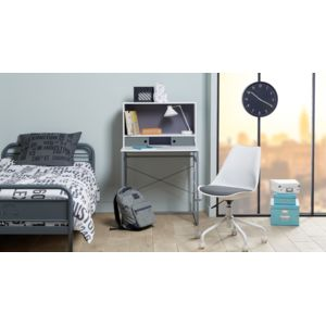 carrefour home bureau avec cases de rangement h14 0806 gris et blanc 75cm x 119cm x 60cm. Black Bedroom Furniture Sets. Home Design Ideas