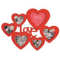 Touslescadeaux - Cadre Photo Pêle Mêle Coeurs Xxl 51 cm - Pour 6 photos - grand format - Rouge