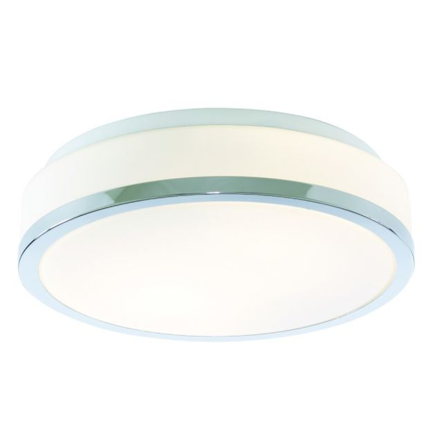 Searchlight Plafonnier bol, 28cm, chrome et verre opale
