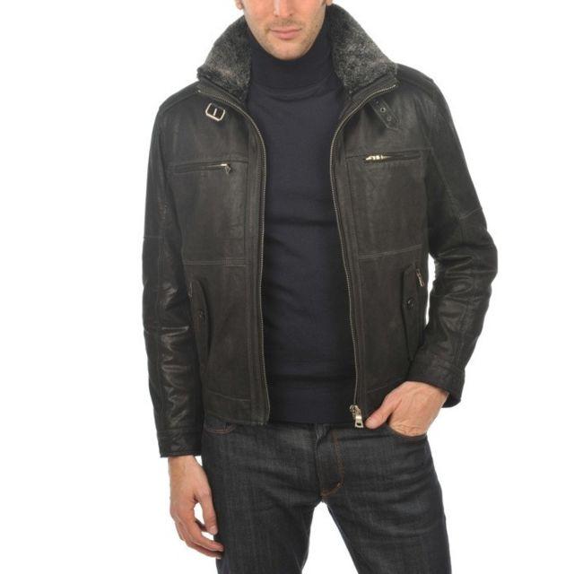 Blouson cuir Couleur noir, Taille Homme L