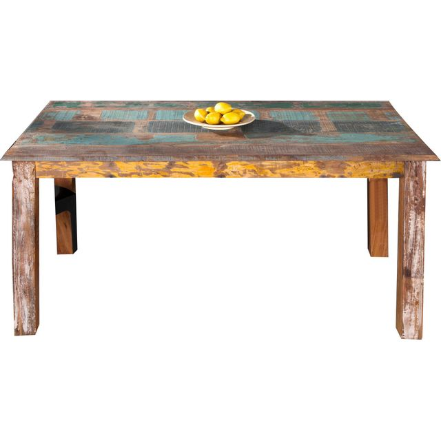 Comforium Table à manger rectangulaire style antique 158 cm en bois massif