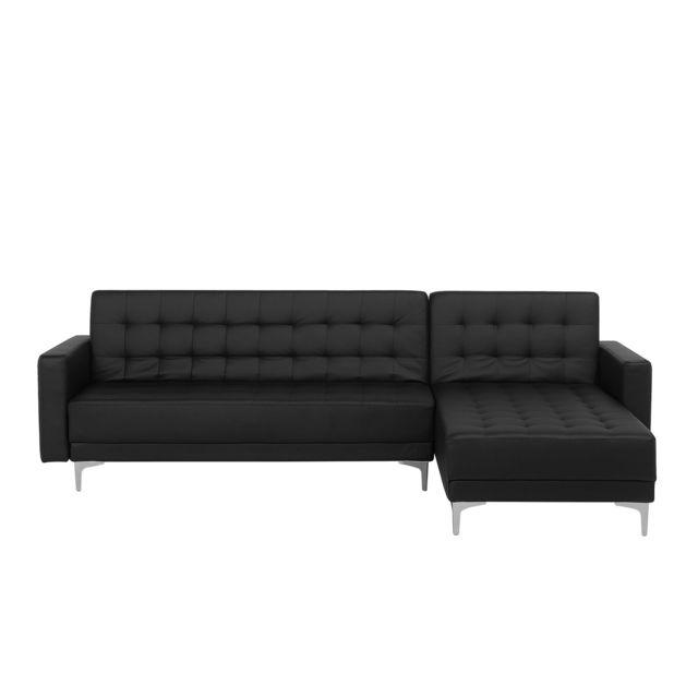 BELIANI Canapé d'angle gauche convertible en similicuir noir ABERDEEN