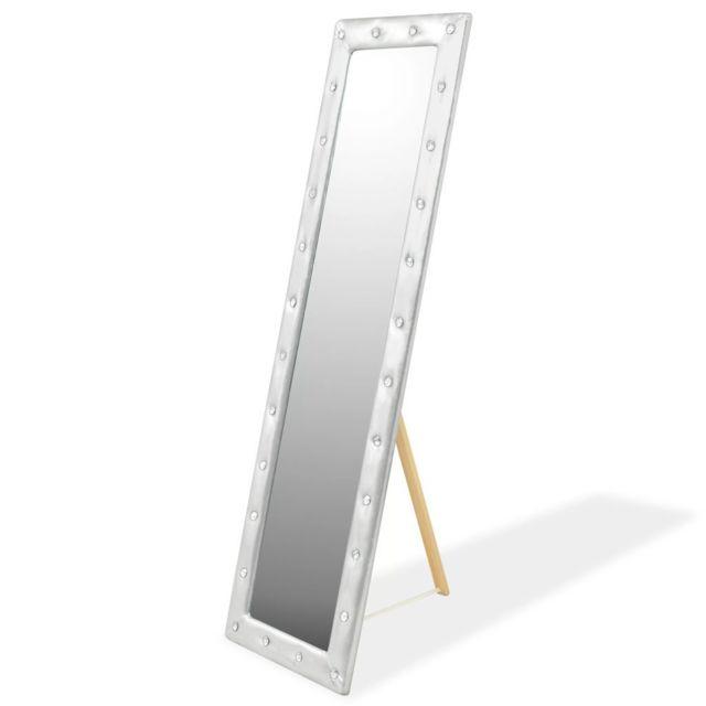 Vidaxl Miroir sur pied Cuir artificiel 45 x 150 cm Argenté brillant