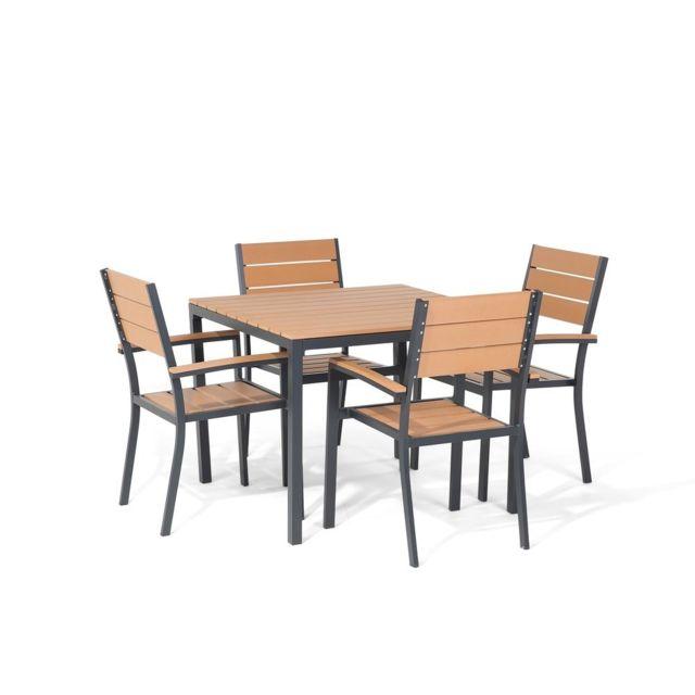 BELIANI - Ensemble de jardin aluminium Table et 4 chaises plastique ...