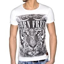 Stoneuk - En Solde - Stone Uk - T Shirt Manches Courtes - Homme - Born Free - Blanc
