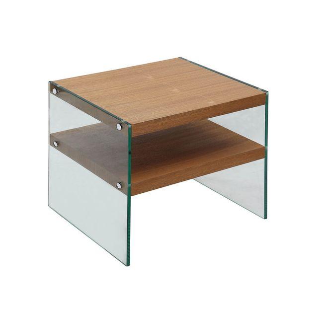 Axe Design Bout de canapé 2 plateaux en bois et verre trempé H45cm Medley