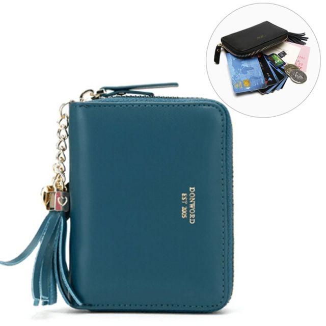 a103e855c2 Wewoo - Portefeuilles vert Portefeuille en cuir de carte de crédit de  pièces de monnaie sac