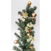 Somoplast - Guirlande de sapin artificiel décorée pour porte ou fenêtre - Décoration de Noël doré