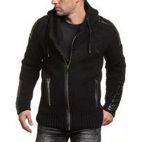 Uniplay - Gilet homme zippé noir maille épaisse