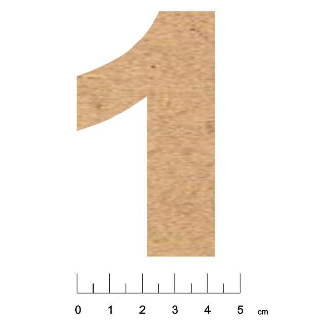 Terre & Bois CrÉATIONS - Chiffre en bois Mdf adhésif 7,5cm Chiffre 1 - Terre et Bois Créations