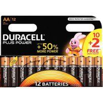 Duracell - piles alcaline lr06 aa - blister de 10 + 2 piles