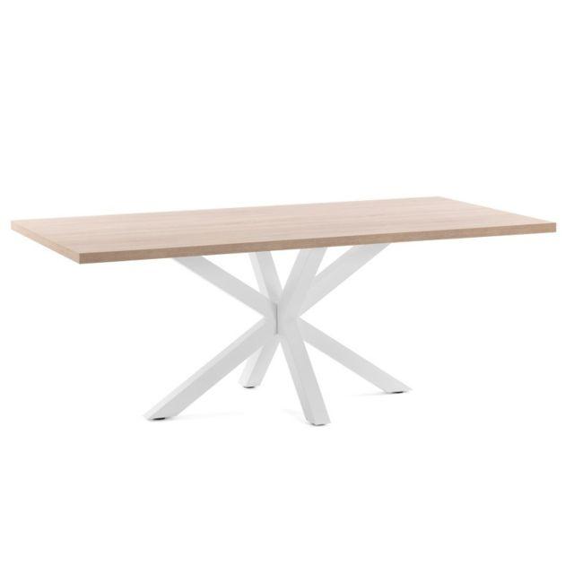 Ma Maison Mes Tendances Table à manger 180 cm plateau bois naturel et pieds métal blanc Emmy - L 180 x l 100 x H 78