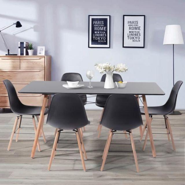 MARQUE GENERIQUE TABLE A MANGER AVEC CHAISES LONDON Ensemble table a manger de 6 a 8 personnes L160x I90 cm + 6 chaises noir L 46 x P 44,