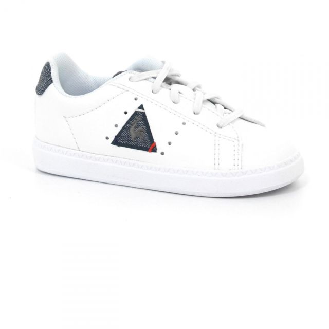 Lecoq Sportif - Chaussures Bebe Courtone Inf S Lea Optical White Blue Jr -  Le b717f128aee3