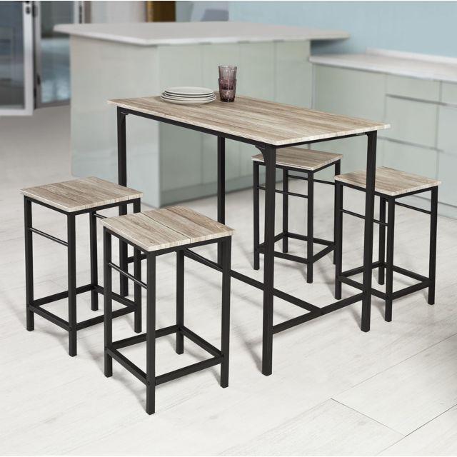 Sobuy Ogt11-N Set de 1 Table + 4 Tabourets Ensemble table de bar bistrot