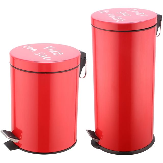 Promobo Set Duo Lot 2 Poubelles A Pédales Métal Design Rouge Inscription Humour 27L et 5L