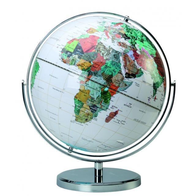 Globe politique multidirectionnels Déco - D 32 cm - Blanc