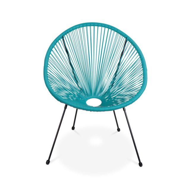 Lot de 2 fauteuils design Oeuf Acapulco Turquoise Fauteuils 4 pieds design rétro, cordage plastique