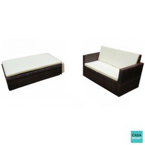 casasmart canap d 39 ext rieur modulable en r sine tr ss e marron pas cher achat vente. Black Bedroom Furniture Sets. Home Design Ideas