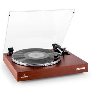 auna tt 931 platine vinyle tourne disque 2 vitesses avec couvercle bois pas cher achat. Black Bedroom Furniture Sets. Home Design Ideas