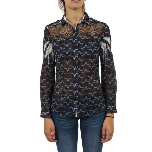 Guess - Chemisier jeans w74h96 clouis bleu - pas cher Achat   Vente Chemise  femme - RueDuCommerce 2f5698c3842