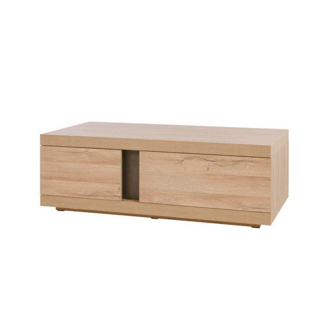 Tousmesmeubles Table basse 2 portes 1 tiroir - Maki