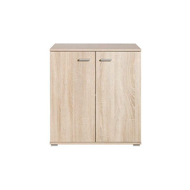 Commode 2 portes 71x75x35cm chêne naturel