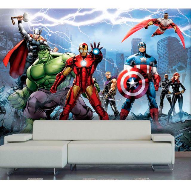 Bebe Gavroche   Papier peint Equipe Avengers Marvel 360X255 Cm