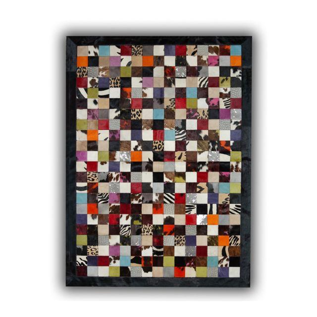 allotapis tapis patchwork en peau de vache multicolore ibiza pas cher achat vente tapis. Black Bedroom Furniture Sets. Home Design Ideas