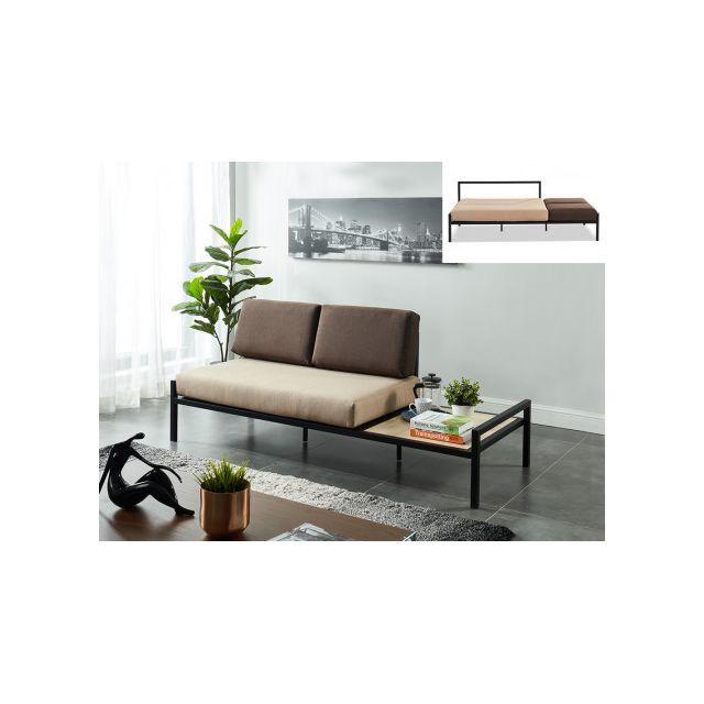 Canapé 2 places convertible en tissu Balea avec table d'appoint intégrée - Beige et gris